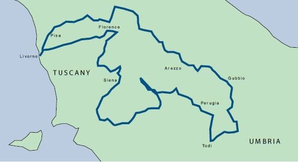 Tuscany map Tuscany & Umbria Tour